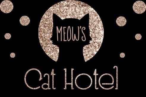 猫のホテルの金グリッターのロゴ名刺