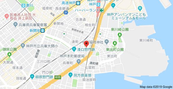 神戸名刺の地図